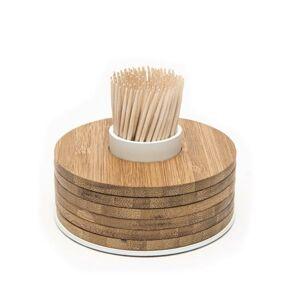 Stojánek s tácky POINT VIRGULE, bambus Barva: Bílá