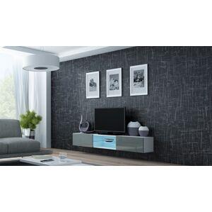 Televizní stolek VIGO 180 GLASS Provedení: Bílo/šedý lesk