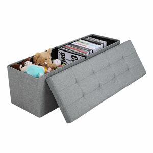 Úložný sedací box čalouněný skládací 110x38 cm šedý