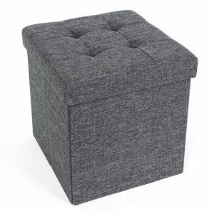 Úložný sedací box čalouněný skládací 38x38 cm tmavě šedý