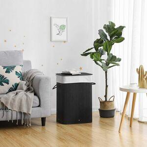 Bambusový koš na prádlo černý 72 l