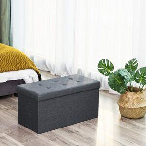 Úložný sedací box čalouněný skládací 76x38 cm tmavě šedý