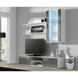 Obývací stěna SOHO 5 Barva: bílá/šedý lesk, Délka TV stolku: 180cm