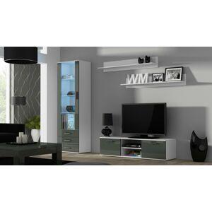 Obývací stěna SOHO 7 Barva: bílá/šedý lesk, Délka TV stolku: 140cm