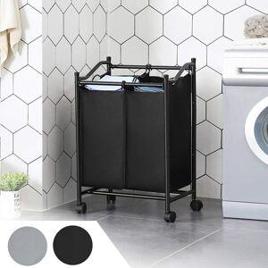 Koš na prádlo pojízdný černý 2 x 45 l