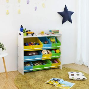Regál na hračky 9 boxů barevný bílý 86 x 78 x 26 cm