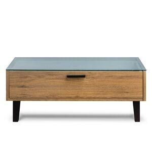 Konferenční stolek FRISK skleněná deska dub 90 x 35 x 60 cm