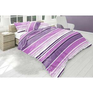 Bavlněné povlečení fialový pruh 140 x 200 cm