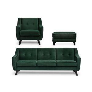 Souprava čalouněného nábytku TERSO tmavě zelená s trojmístnou pohovkou