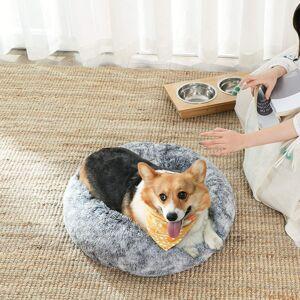 Pelíšek pro psa plyšový kulatý šedý 70 cm
