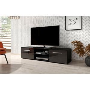 Televizní stolek MOON 140 2K, černý vysoký lesk
