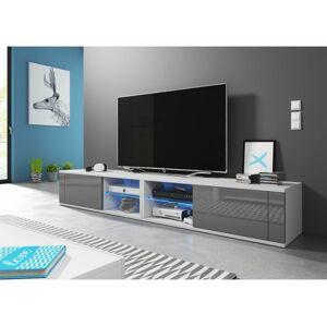 Televizní stolek BEST DOUBLE bílošedý, s LED osvětlením