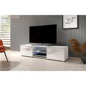 Televizní stolek MOON 140 bílý, s LED osvětlením