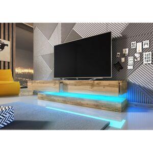 Nástěnná TV komoda FLY 140 s LED osvětlením černý mat/dub
