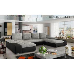 Rohová sedací souprava MARINO Provedení: Berlin 01 + Soft 011 black