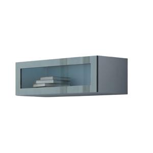 Závěsná vitrína Vigo 90 prosklená Provedení: Bílo/šedý lesk