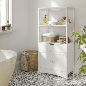 Koupelnový regál se skříňkou bílý 60 x 122 x 32 cm