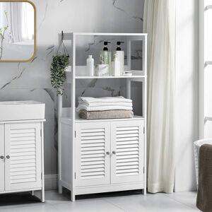Koupelnový regál se skříňkou bílý 60 x 122 x 33 cm