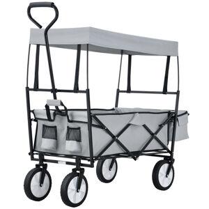 Skládací vozík s odnímatelnou střechou a pytlem šedý