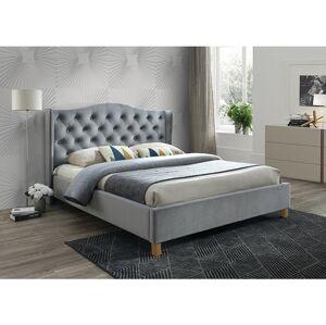 Čalouněná postel ASPEN VELVET 160 x 200 cm barva šedá / dub