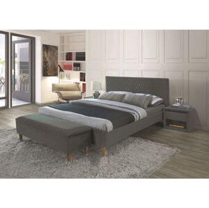 Čalouněná postel AZURRO VELVET 160 x 200 cm barva šedá / dub