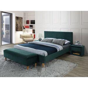 Čalouněná postel AZURRO VELVET 180 x 200 cm barva zelená / dub