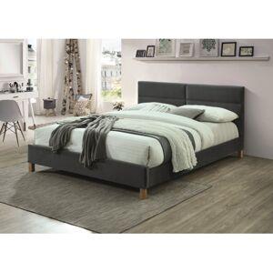 Čalouněná postel SIERRA VELVET 160 x 200 cm barva šedá / dub