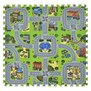 Dětská podložka puzzle Jascha, 9 dílů, ulice