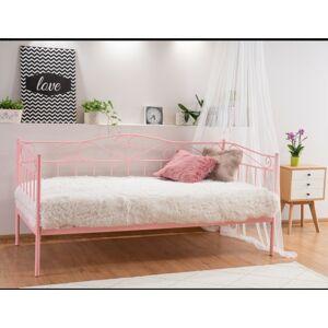 Kovová postel Birma 90 x 200 cm růžová