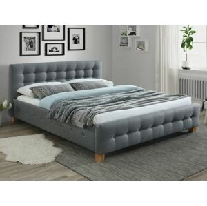 Čalouněná postel BARCELONA 160 x 200 cm barva šedá / dub