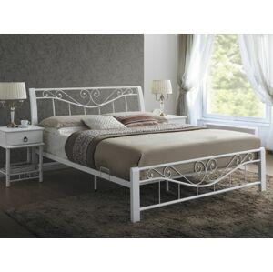 Kovová postel PARMA 160 x 200 cm bílá